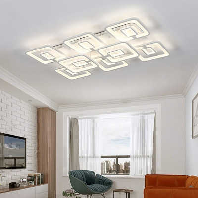 Super Thin Square Shade LED Ceiling Lamp Modern Simple Acrylic Flush Mount Lighting in White