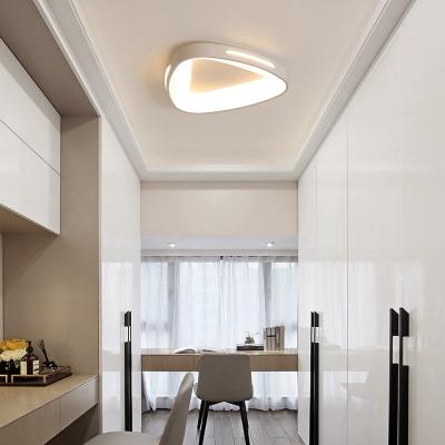 Triangle Living Room Ceiling Flush Lights Acrylic Shade LED Modern Flush Mount Lighting in White