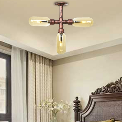 Vintage Pipe Lighting Fixture Iron and Glass Semi Flush Ceiling Lights in Rust for Bedroom