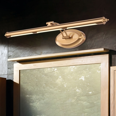 Warm Brass Linear Wall Sconce for Bathroom, Rotatable Metal Acrylic Contemporary Sconce Lights