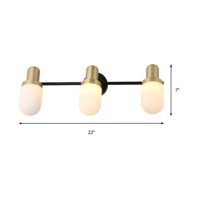 1/2/3 Light Capsule Wall Mount Light with White Glass Shade Modernism Angle Adjustable Wall Light in Gold