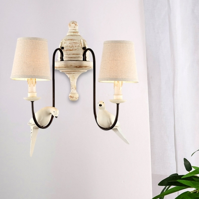 1/2 Lights Tapered Wall Sconce with Bird Accents Country Rustic Fabric Wall Lighting in Distressed White