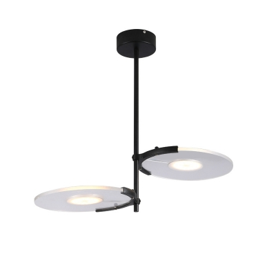 2/3 Lights Disc Hanging Pendant Light Modern Simple Clear Acrylic Shade Chandelier Lighting in Black