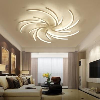 3/4/5/6 Bulbs Dandelion Ceiling Flush Mount Light Modernist Acrylic White Flushmount Ceiling Lamp in Warm/White