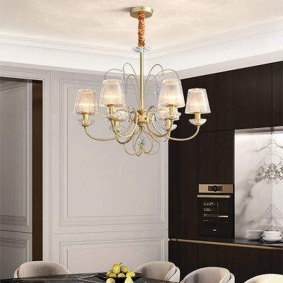 6/8/10 Lights Cone Chandelier Lamp Clear Ribbed Glass Shade Modern Hanging Ceiling Light in Gold