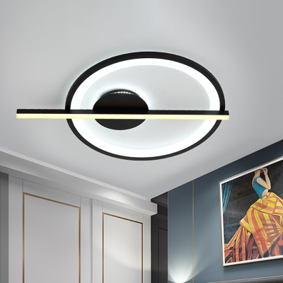 Black Ring Flush Light with Acrylic Diffuser Integrated Led Metal Close to Ceiling Light in White Light, 23.5