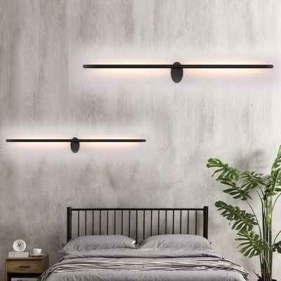Black Tube Wall Lamp Minimalist Metal Led Indoor Wall Mount Light For Bedroom Beautifulhalo Com