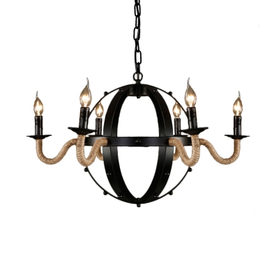 Candle Hanging Light with Metal Chain Country Style 6 Lights Indoor Lighting for Restaurant