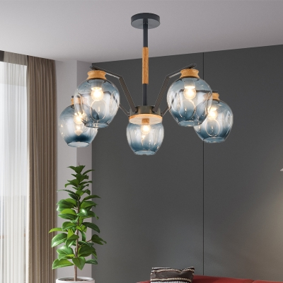 Concave Glass Pendant Chandelier with Globe Shade Modernist 3/5 Heads Hanging Ceiling Light in Grey/Green