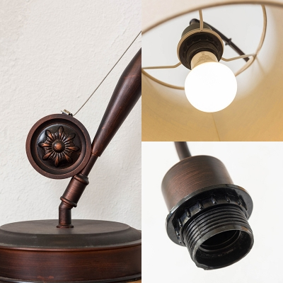 Fishing Rod Table Light with Tapered Fabric Shade 1 Light Traditional Table Lighting in Brown