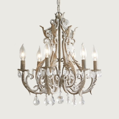 French Country Candle Ceiling Chandelier Wrought Iron Hanging Ceiling Light with Crystal Accents