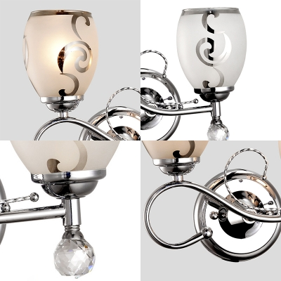 Frosted Glass Sconce Lighting 2 Heads Modern Bowl Wall Lighting with Metal Arm in Chrome for Living Room