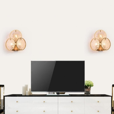 Gold Ring Sconce Lighting with Clear Water Glass Contemporary Bedside Wall Lamp