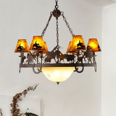 Loft Round Hanging Ceiling Light with Tapered Mica Shade 9 Lights Chandelier Lighting in Brown
