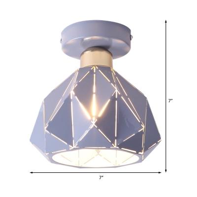 Metal Diamond Ceiling Flush Mount Light Nordic 1 Light Gray/Blue/Gold Flush Mount Light Fixture for Porch