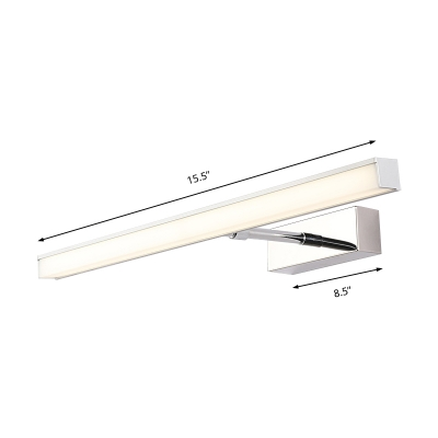 Minimalist Rectangle Vanity Light Extendable Led Metal Wall Mount Light with Frosted Diffuser