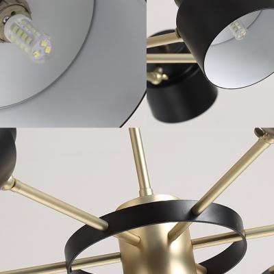 Nordic Drum Chandelier Lighting Black/White Metal Shade 6/8 Heads Pendant Lighting with Raidal Design