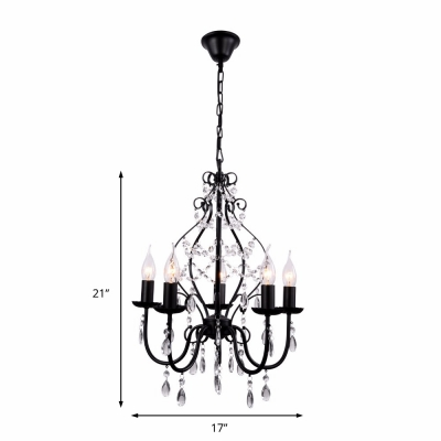 Traditional Crystal Chandelier with Candle Metallic Foyer Pendant Lamp in Matte Black