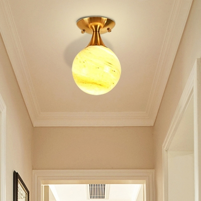 White-Yellow/Gray-Blue/Smoke Gray Glass Semi Mount Lighting with Orb Shade Nordic 1 Bulb Ceiling Flush Mount for Foyer