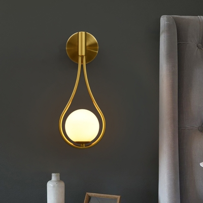 1 Light Spherical Sconce Lighting Mid Century Modern Frosted Glass Wall Lamp with Metal Frame