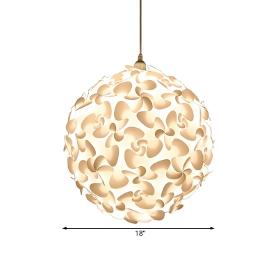 1 Light Spherical Suspended Light with White Plastic Shade Modern Simple Pendant Lamp in White