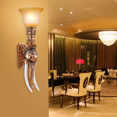 1 Light Torch Sconce Lamp with Elephant Decoration Frosted Glass Loft Wall Mount Light in Gold