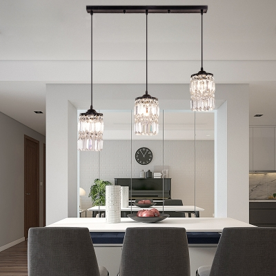 3 Lights Clear Crystal Cluster Pendant Lighting with Linear/Round Canopy Modern Suspension Light in Black