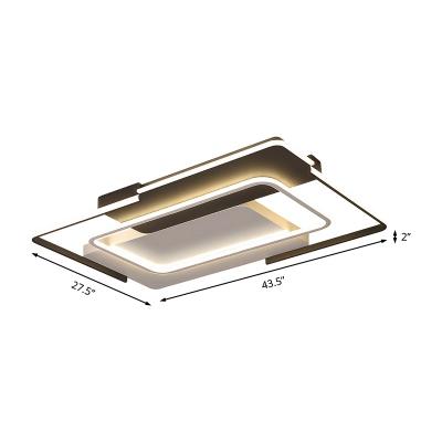 35.5/43 Inch Wide Black Rectangle Frame Ceiling Light Modern Led Flush Lighting, Warm/White Light