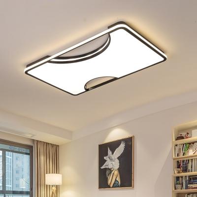 Black/White Acrylic Flush Ceiling Light Fixture Simple LED Geometric Flushmount Light in Warm/White, 16