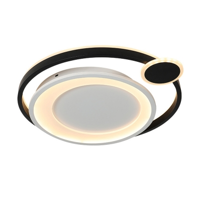 Black/White Orbit Ceiling Flush Lighting Modern Metal and Acrylic Integrated Led Indoor Ceiling Lamp, 15