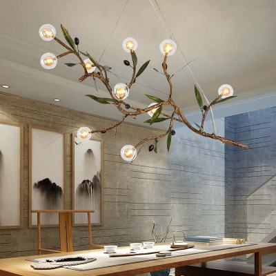 Branch Hanging Chandelier with Mini Ball Glass Shade Modern Multi Light Indoor Pendant Lamp