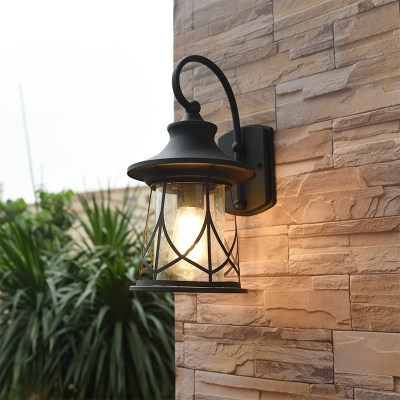 Castle Cage Tapered Sconce Fixture with Clear Glass Shade 1 Light Wall Light in Black Finish