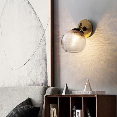 Clear Textured Glass Globe Wall Sconce Modern 1 Light Wall Lighting for Bedside