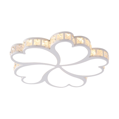 Contemporary Clover Flush Ceiling Light with Black/Gold/White Metal Shade and Crystal Accents Led Bedroom Flushmount