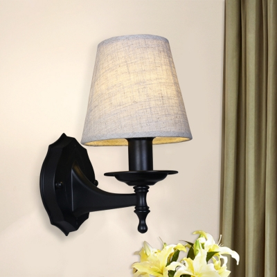 Country Style Cone Wall Sconce Light with Flaxen/White Fabric Shade 1/2 Lights Bedside Wall Lamp