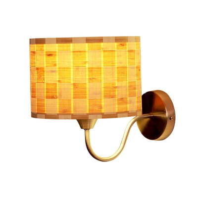 Drum Sconce Lighting with Mosaic Design Single Light Modern Wall Mount Lamp for Bedside