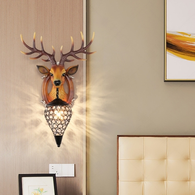 Elk Wall Light Contemporary 1 Light White/Brown Lantern Wall Mounted Light for Bedroom
