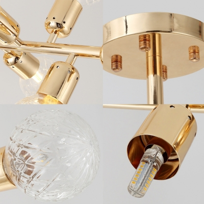 Gold Linear Chandelier Lighting with Clear Textured Glass Modern 18 Lights Indoor Pendant Lamp