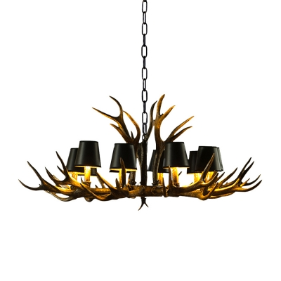 Living Room Chandelier Lamp with Black Cone Shade and Antlers Vintage 6/8/10/12/15-Head Hanging Light