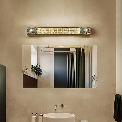Metal Linear Wall Light Modern Vanity Wall Light in Chrome for Bathroom Bedroom Mirror