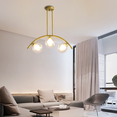 Modern Sphere Pendant Light with Metal Arc Arm 3/5/7/9 Lights on