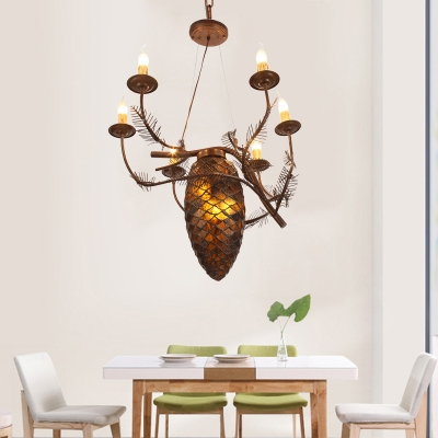 Pinecone Pendant Lighting with Stained Glass Shade Loft Style 9 Bulbs Foyer Chandelier in Coffee