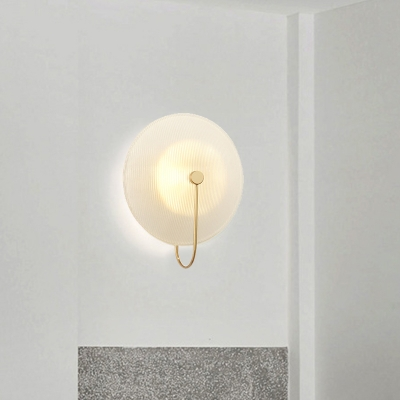 Ribbed Glass Round Wall Mount Light Post Modern 1 Light Sconce Lighting with Neutral Lighting