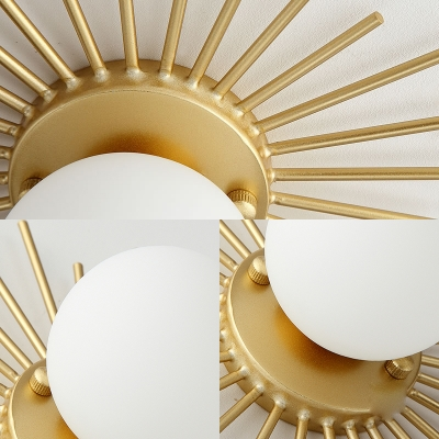 Spherical Flush Mount Lighting with Frosted Glass Shade Minimalism 1 Bulb Ceiling Mounted Fixture in Gold