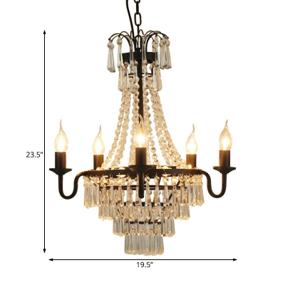 Traditional Empire Chandelier Light Metal and Crystal 10 Lights Black Pendant Light for Foyer