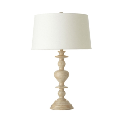 White Barrel Shade Table Lamp with Resin Base 1 Light Country Style Fabric Standing Table Light