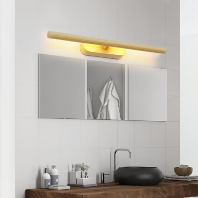 Wood Grain Tube Wall Sconce Light Rotatable Nordic Led Vanity Mirror Light