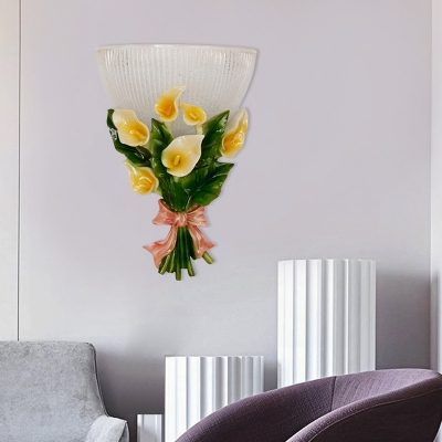 1 Light Bowl Wall Lamp with Flower Frosted Ribbed Glass Loft Wall Mounted Lamp in Green/White