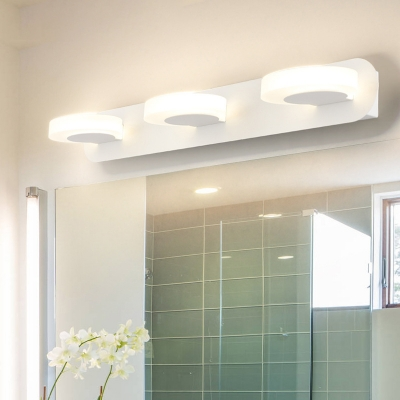 3 Round Vanity Lighting Modern Acrylic Integrated Led Vanity Mirror Light in White