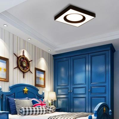 Acrylic Square Ceiling Mount Light Modern LED Flush Light in Black and White for Cloth Sop